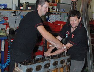 Marine diesel mechanics in Auckland workshop