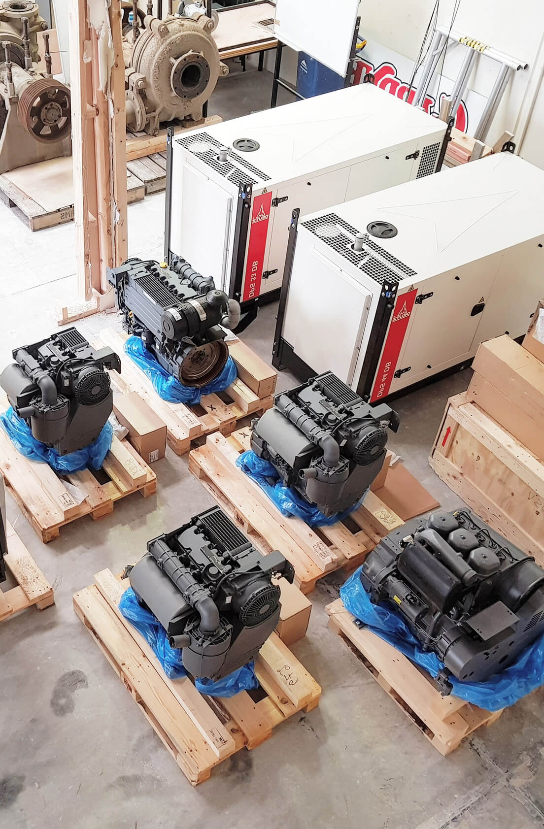 Diesel engines on pallets at Shaw Diesels official licensed Deutz dealers in NZ