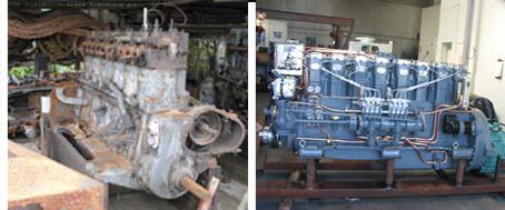 diesel engines undergoing rebuild