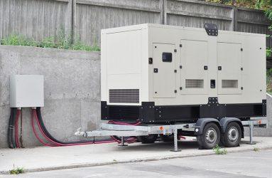Large diesel powered portable generator.